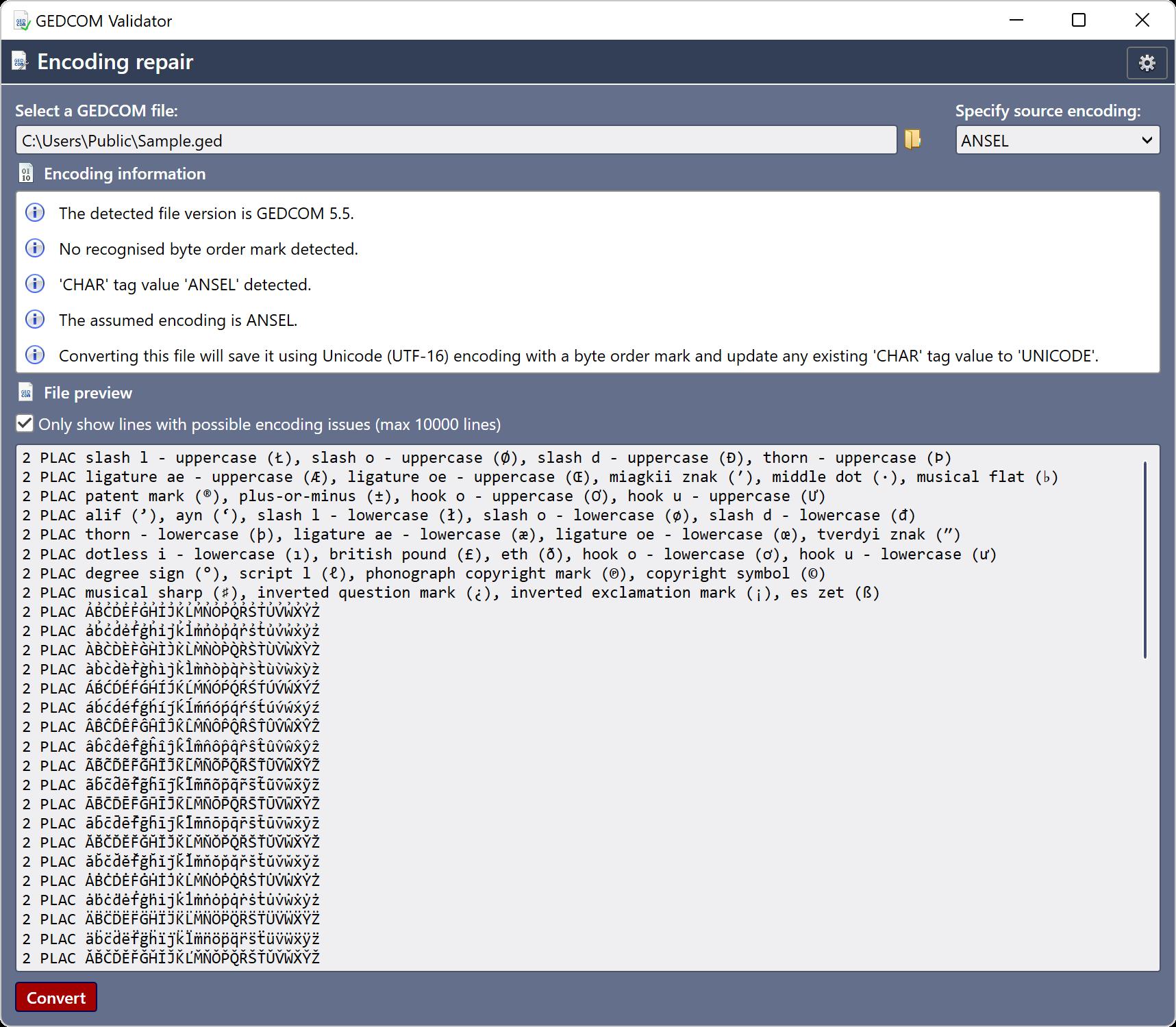 GEDCOM Validator screenshot